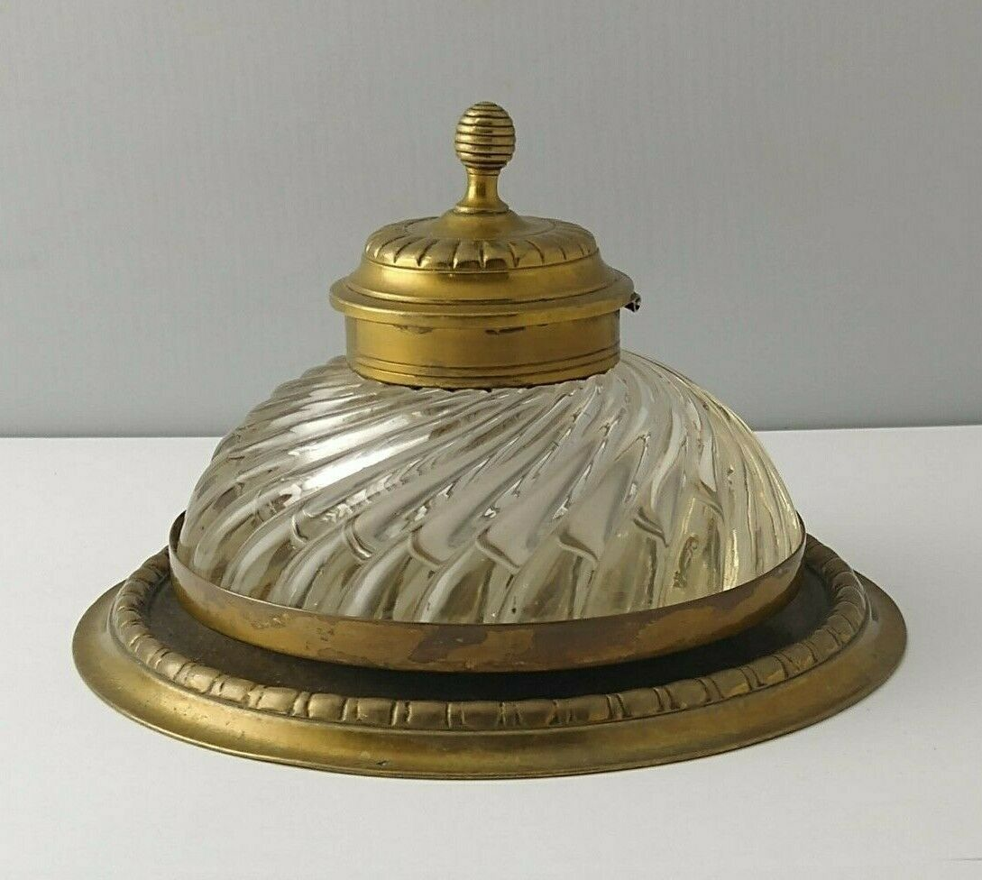 Large Victorian Brass Inkwell
