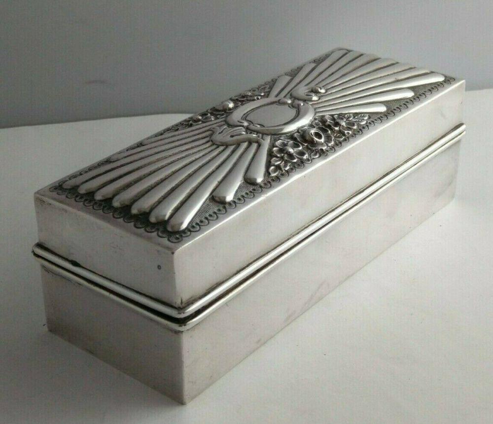 Mappin & Webb Victorian Silver Curling Tongs Box - London 1896