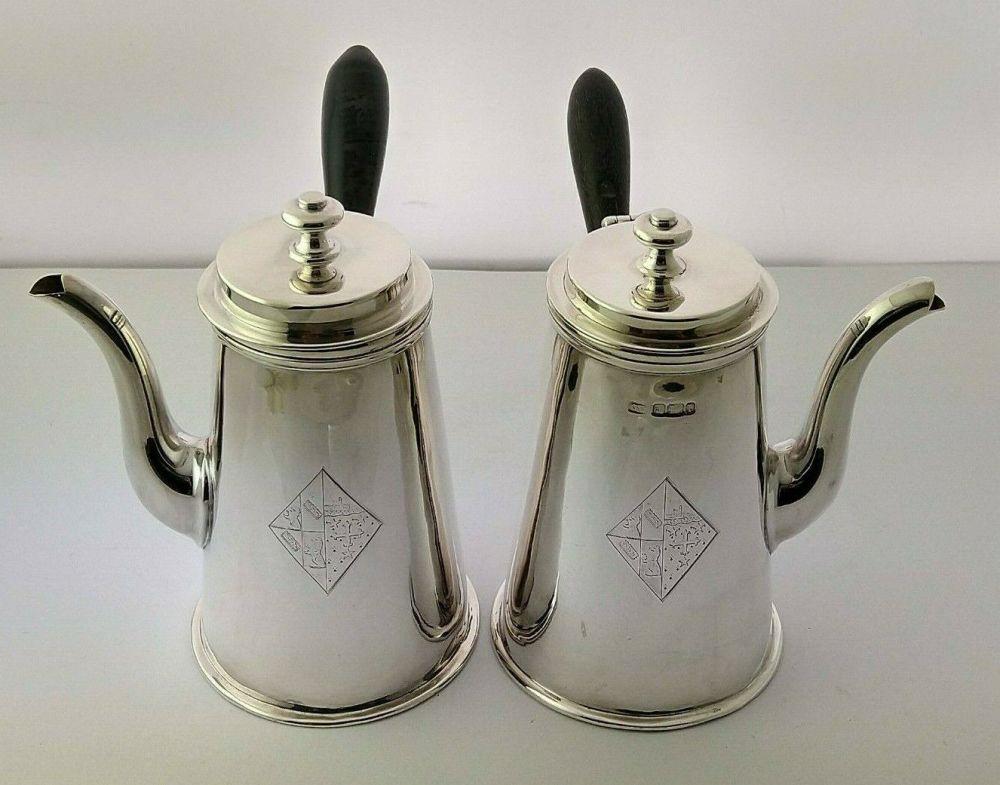 Edwardian Silver Cafe Au Lait Set - Birm. 1910