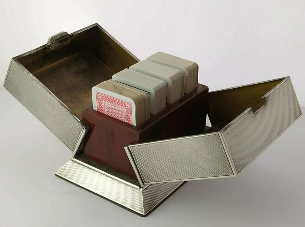 Rare Silver Four Deck Playing Cards Box