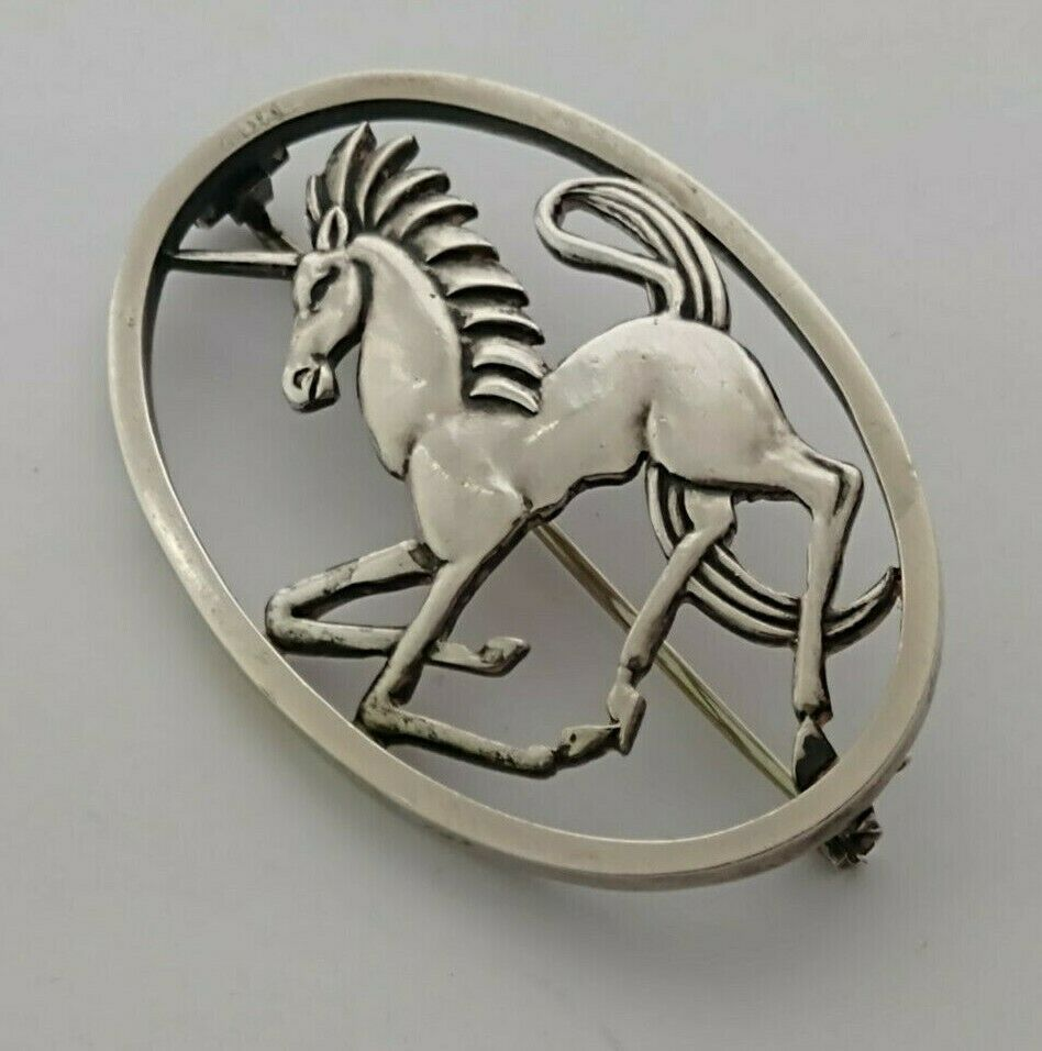 Geoffrey Bellamy Silver Unicorn Brooch - Tarrat's Birm. 1959