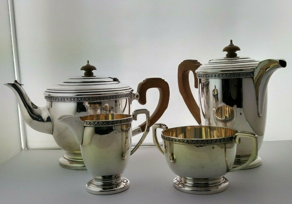 Art Deco 4pc Silver Tea Set - 1,741g - Birm. 1940