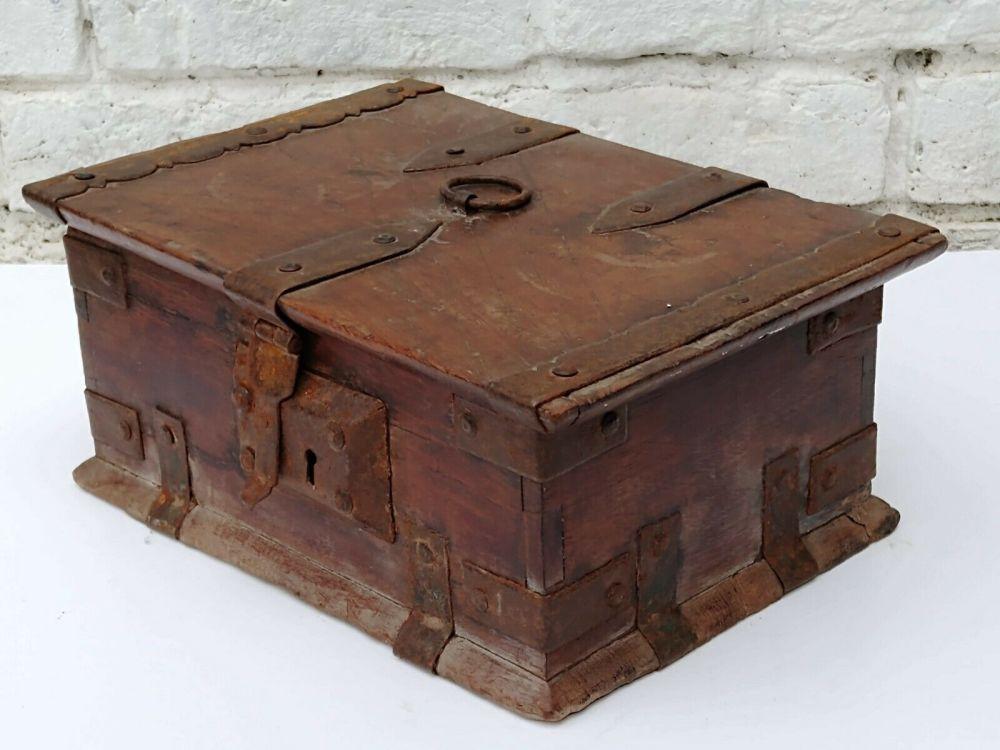 19th C. Spanish Walnut Wooden Casket