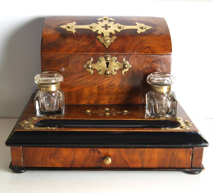 Victorian Brass Mounted Walnut Desk Stand And Stationary Box