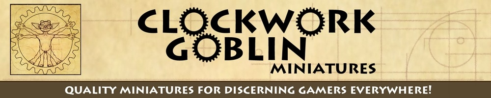 Clockwork Goblin Miniatures, site logo.