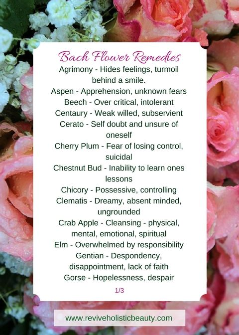 A to Z List of Bach Flower Remedies
