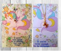 "Handmade ""Unicorn"" greeting card and necklace"