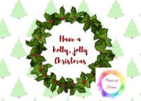 "Holly Jolly Christmas 7"" x 5"" print at home printable"