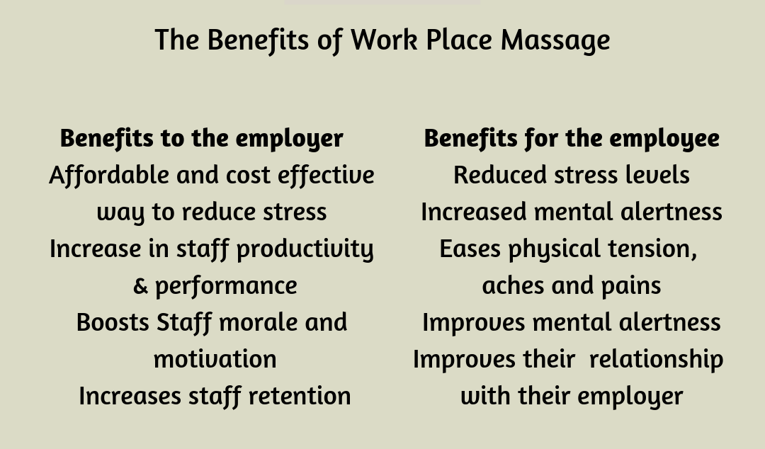 On site massage benefits