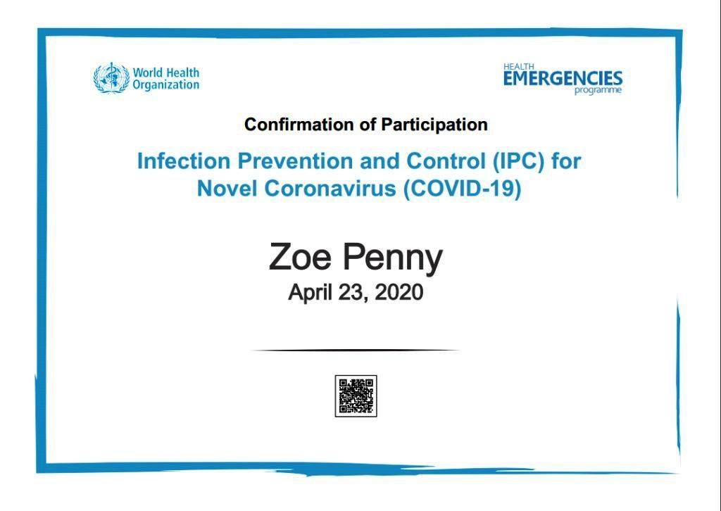COVID 19 WHO IPC Certificate
