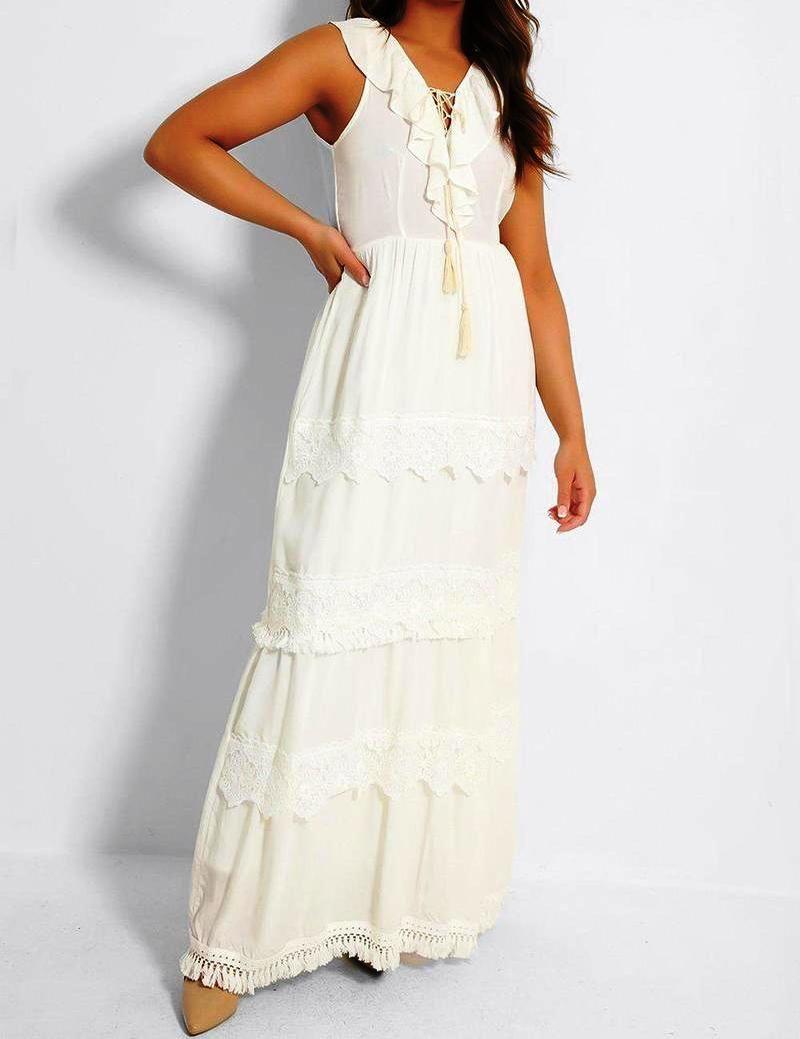 Flam Mode Cream Crochet Frill Neckline Maxi Dress