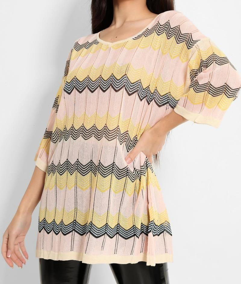 Pink, Yellow, Black Chevron Crochet Knit Top