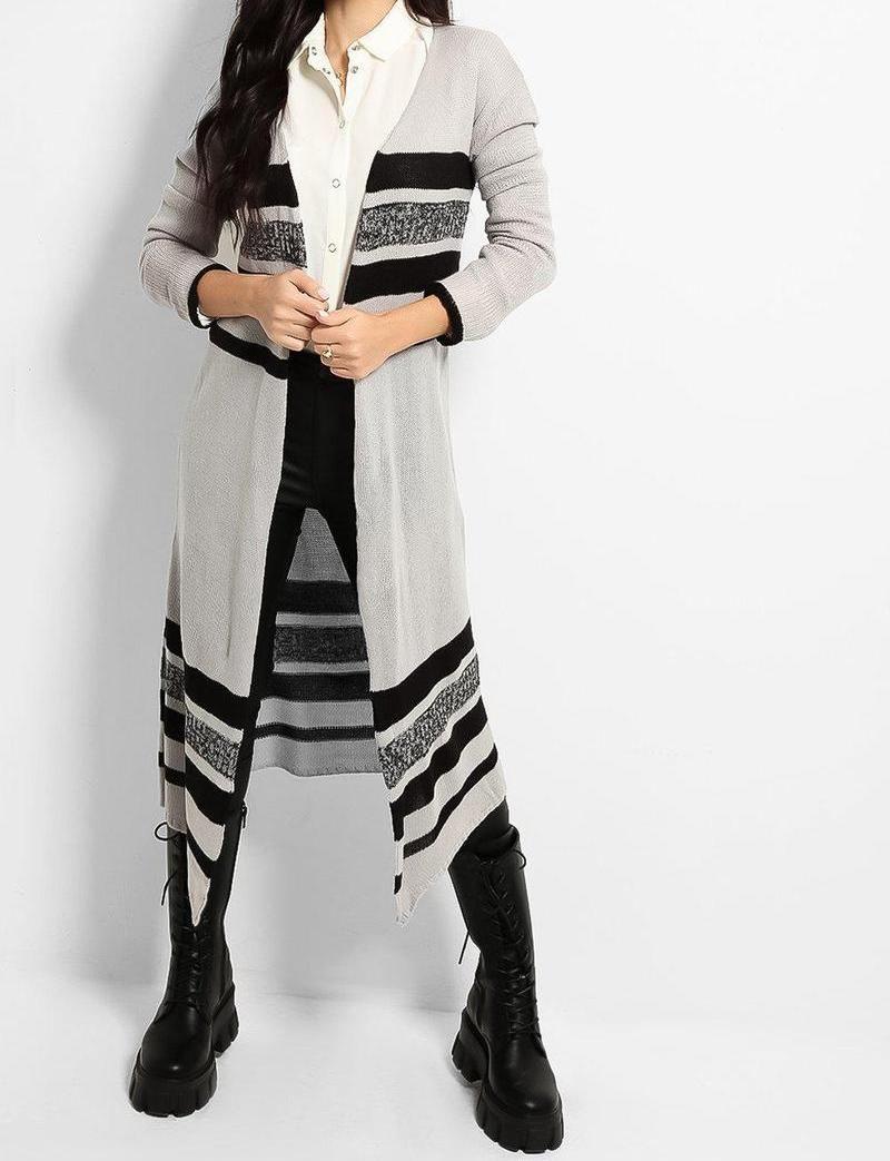 Stripey Maxi Light Knit Cardigan Size 12-14