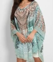 Multicoloured Embellished Boho Kaftan Blouse - One Size