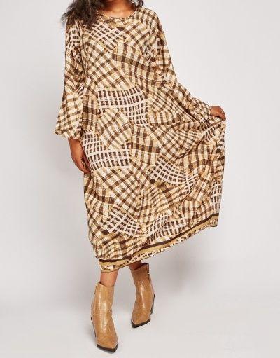 Oversized Checked Boho Kaftan Maxi Dress