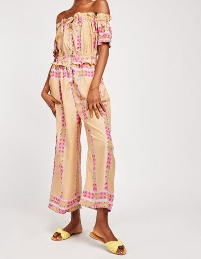 Off the Shoulder Ethnic Print Bardot Top Jump Suit