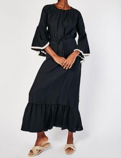 Black Crochet Flounce Sleeve Boho Maxi Dress Size 8 to 12