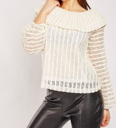 Cream Lace and Faux Leather Off the Shoulder Blouse