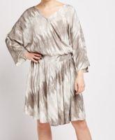 Olive-Grey & Cream Tie Dye Dress