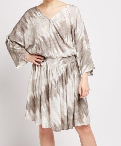 Olive Grey & Cream Tie Dye Dress