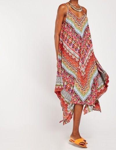 Multicoloured Print Asymmetric Handkerchief Tent Dress