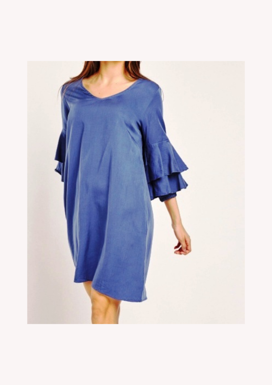 Blue Ruffle Sleeved Smock Dress Size 10-14