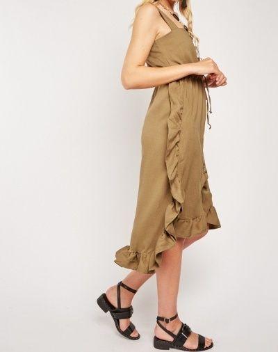 Olive Ruffle Trim Pinafore Dress Size 12