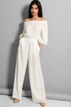 White Off the Shoulder Lightweight Jump Suit