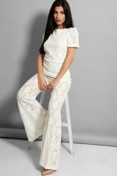 Tall: Cream Lace Wide Leg Jump Suit - Open Back
