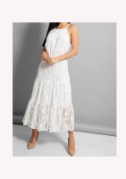 Zack London Lined Lace Tiered Midi Dress
