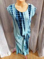 Blue Tie Dye Knot Twist Jersey Body Con Dress