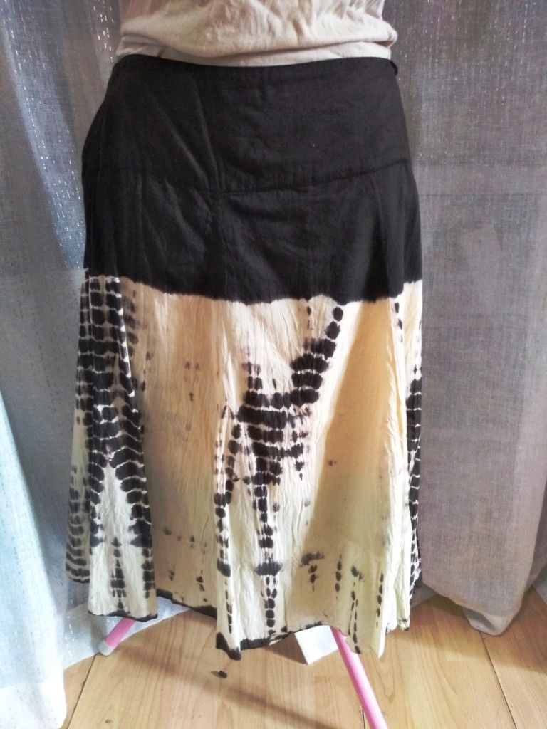 Tie Dye Knee Length Fit and Flare Skirt