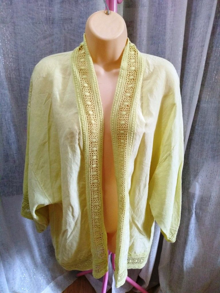 Light Lemon/Lime Crochet Trim Linen Kimono Summer Jacket