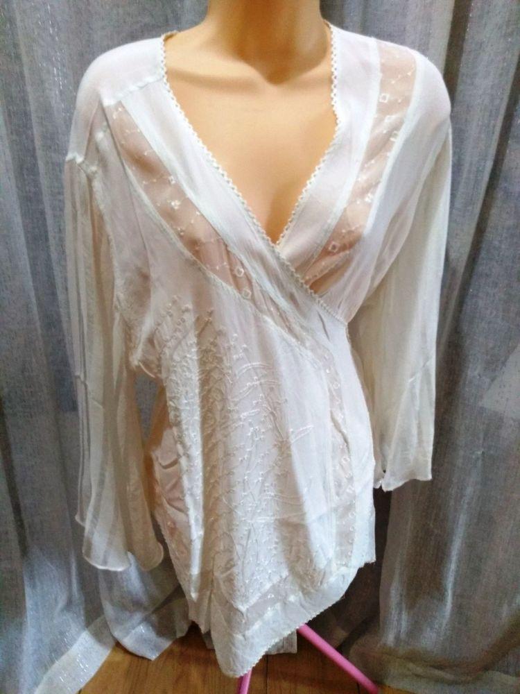 Embellished Wrap Over Kimono Top