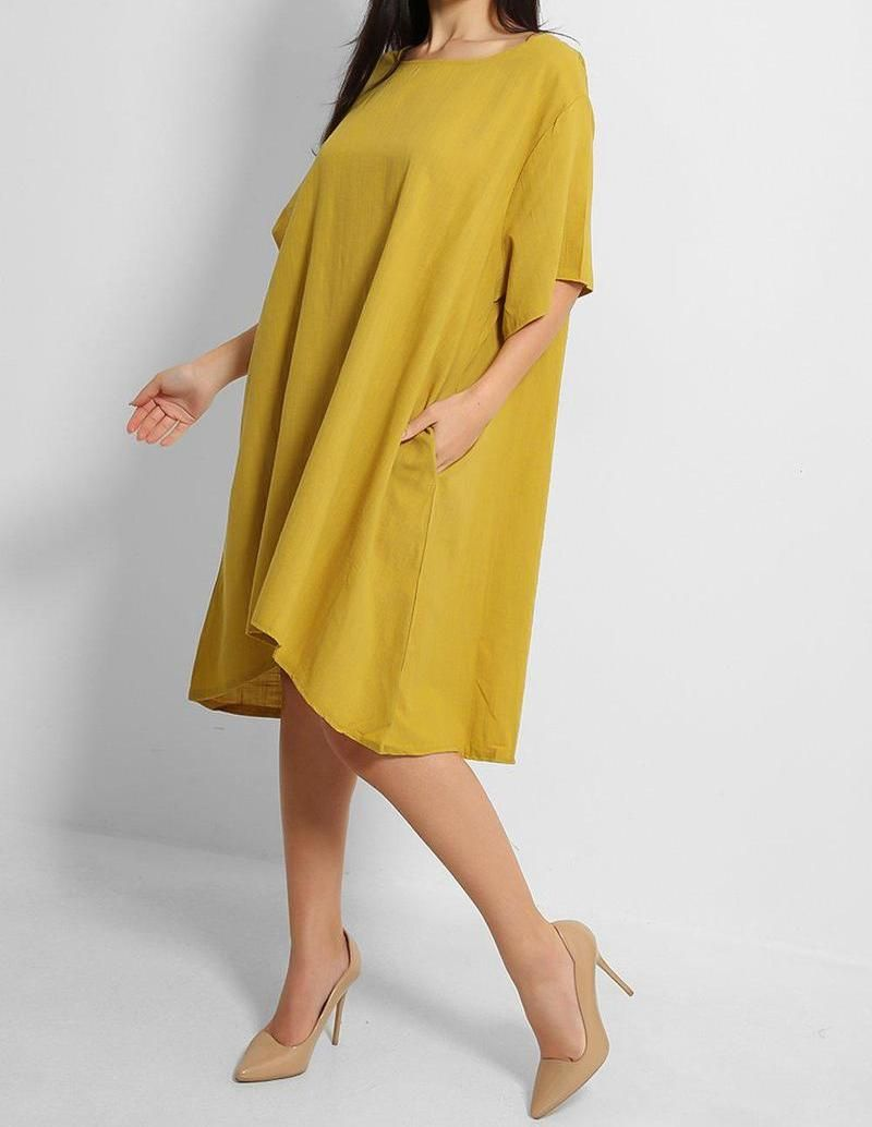 Cotton Oversized Shift Dress - with pockets