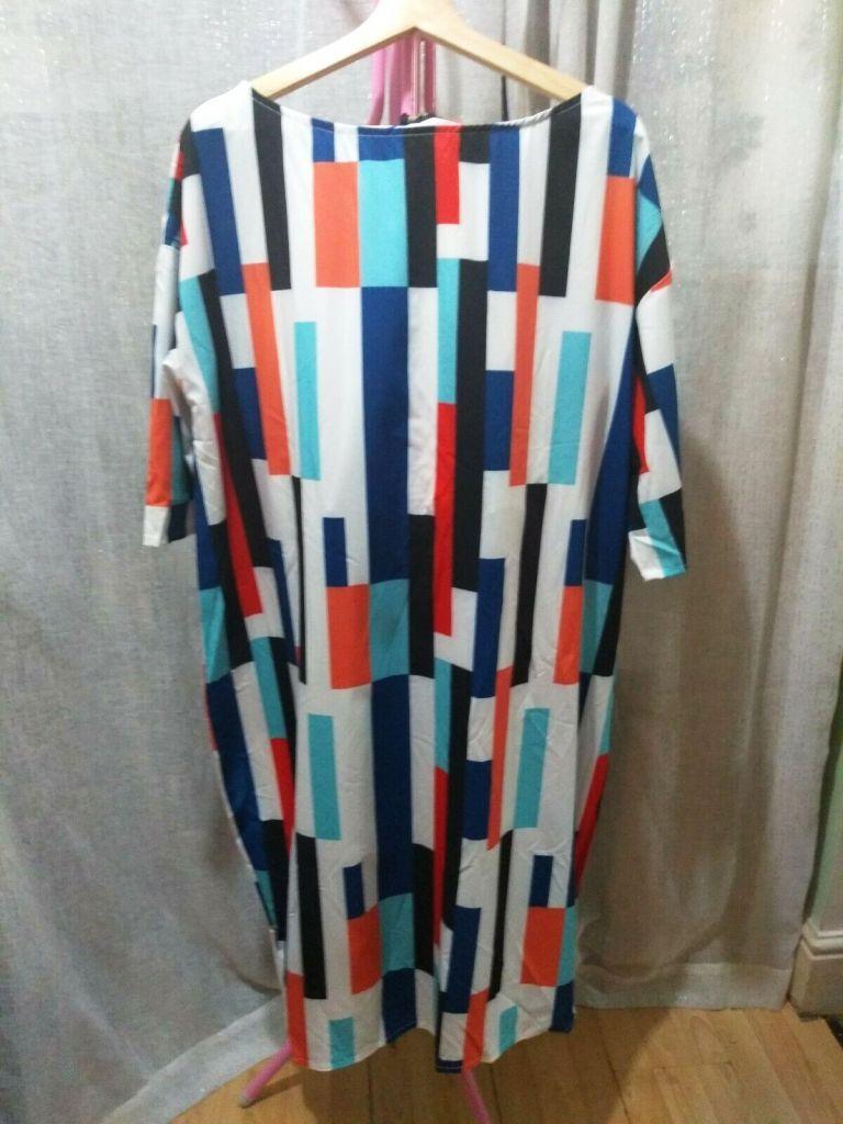 Colour Block Mid Dress