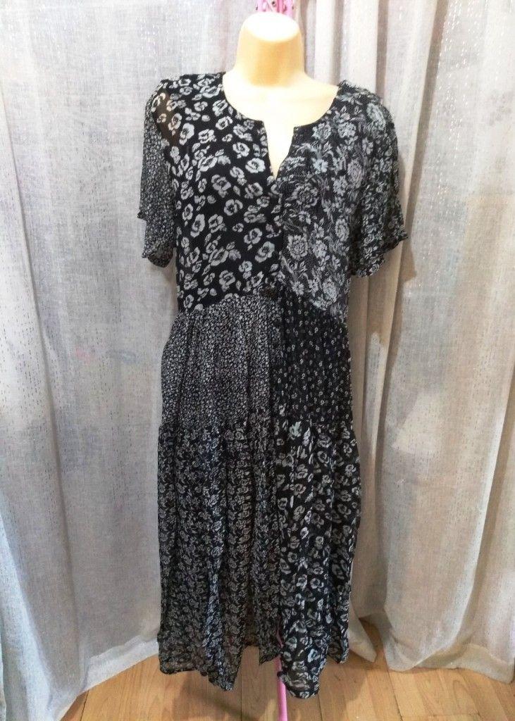 Black Ditsy Floral Print Patchwork Chiffon Lined Maxi Dress