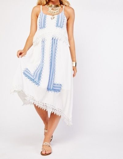 Blue and White Boho Crochet Trim Strappy Summer Dress