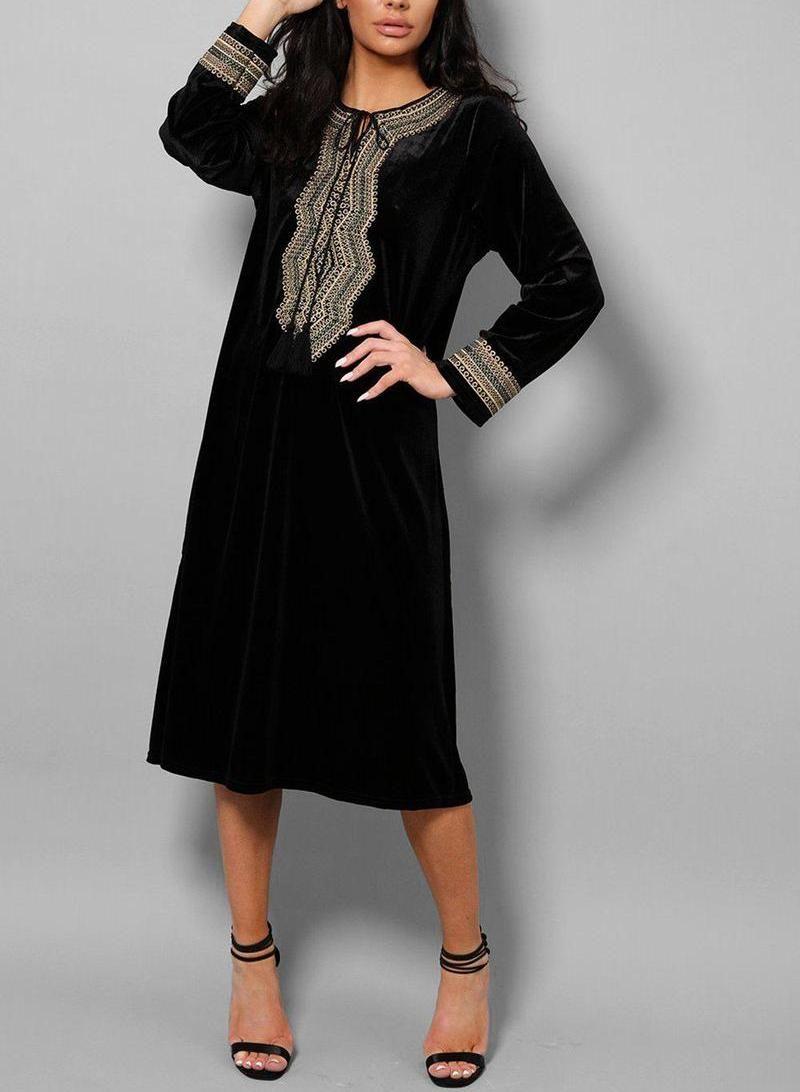 Black Embroidered Tassel Velvet Midi Dress - One Size