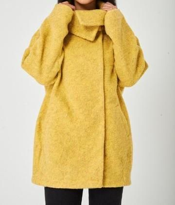 Yellow Long Sleeved Knit Jacket Structured Jumper