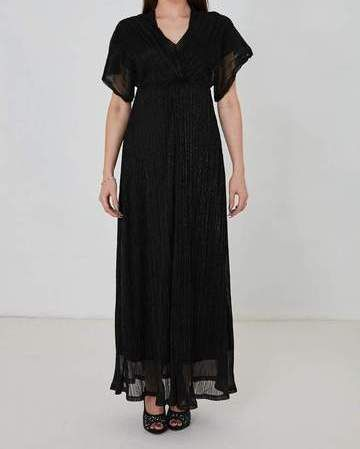 Black Shimmer Evening Maxi Dress with Chiffon Sleeves