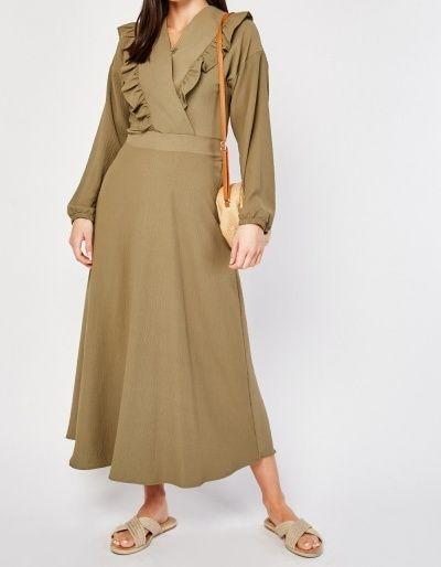 Long Sleeved Ruffle Trim Wrap Front Maxi Dress