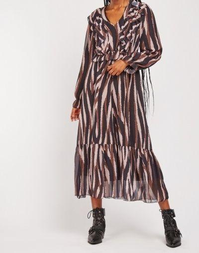 Wavy Striped Chiffon Midi Maxi Dress