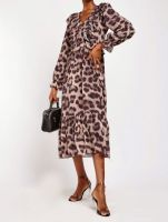 Long sleeved Leopard Animal Print Chiffon Tiered Midi Dress