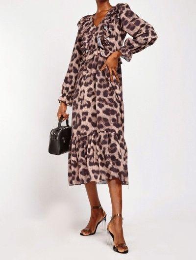 Long sleeved Leopard Animal Print Chiffon Tiered Midi Maxi Dress