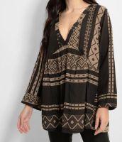 Italian Beige Black Aztec Print V Neck Boho Tunic