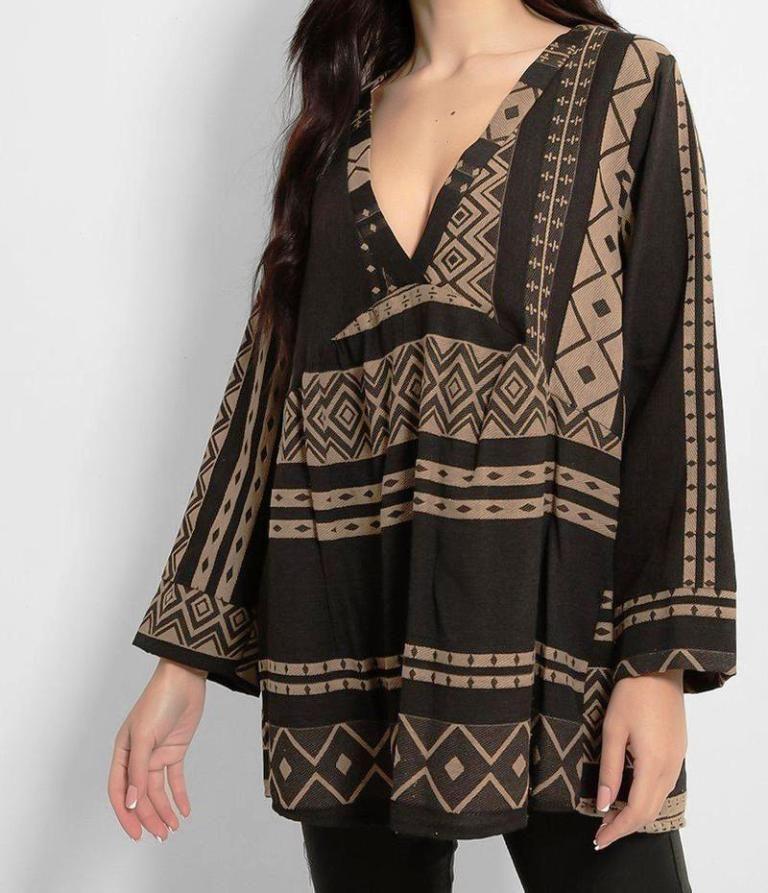 Beige Black Aztec Print V Neck Boho Tunic
