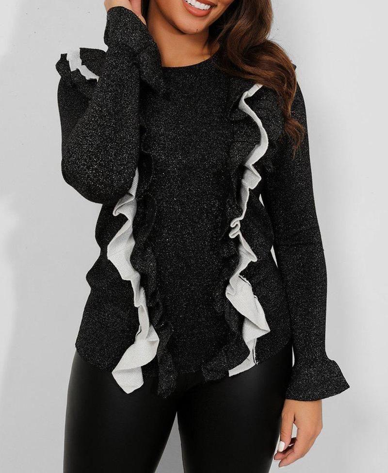 Black Shimmer Knit Frill Jumper