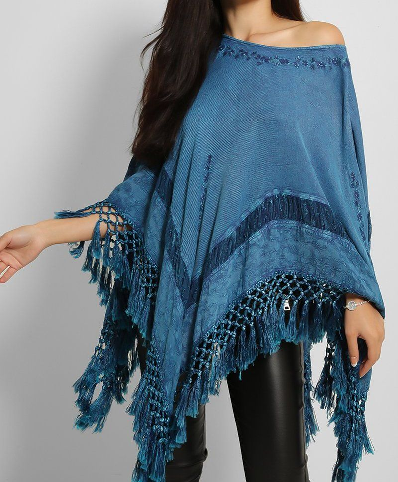 Embroidered Tassel Poncho