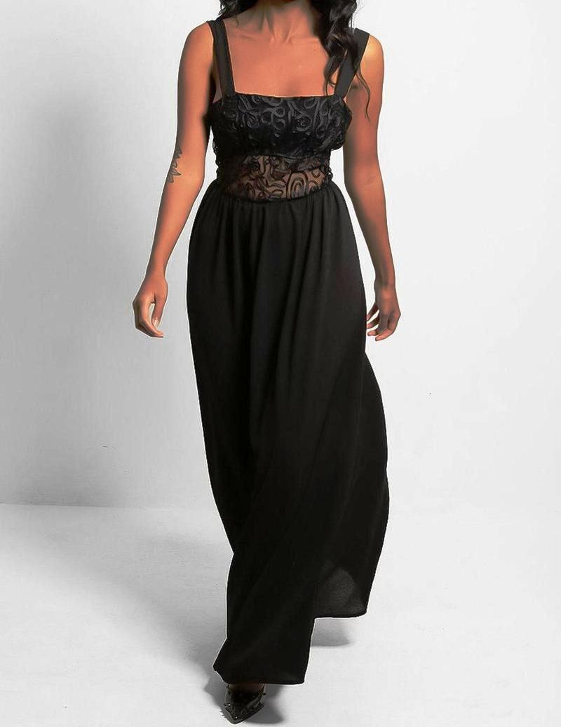 Black Embroidered Maxi Dress with Sheer Waistband
